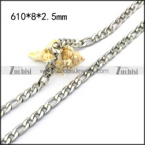 61cm long Figaro Chain Necklace in 0.8cm Wide n001581