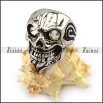 Clear Rhinestone Eyes Skull Ring with Beard r004325