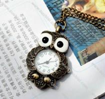 Vintage Night Owl Quartz Pocket Watch PW000224