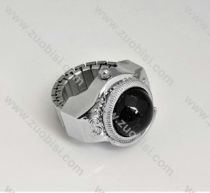 Silver Ring Watch with Black Stone - PW000011-6