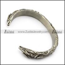 Vintage Stainless Steel Dragon Bangle For Men b005410
