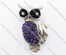 Stainless Steel Night Owl Pendant crafted of Purple Artificial Jewel - JP420023