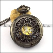 Gun Metal Tone Mechanical Pocket Watch pw000509