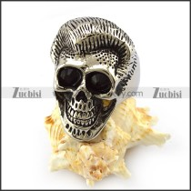 Black Rhinestones Eyes Skull Ring r004305