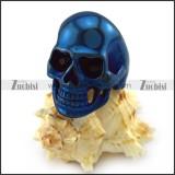 Black Rhinestones Eyes Skull Ring in Blue Plating r004290