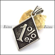 Silver Stainless Steel 1 Percent ER Pendant p002998