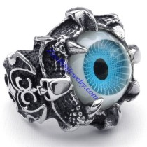 shiny blue evil eye stone ring in stainless steel JR350270