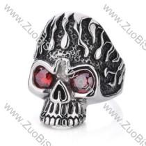 Stainless Steel Red Zircon Skull Ring - JR350003