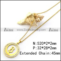Yellow Gold Plating Capital Letter B Pendant Chain n001691