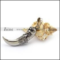 Steel Casting Skull Wolf Tooth Pendant p003772