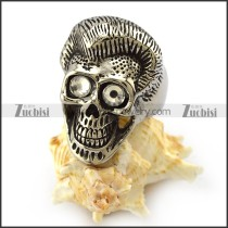 Big Clear Rhinestones Eyes Skull Ring r004306