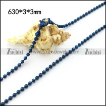 Blue 3MM Round Ball Chain n001524