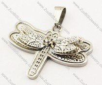 Silver Stainless Steel Butterfly Pendant with Clear Stone -JP140058
