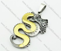 Gold Stainless Steel Dragon Pendant -JP140102