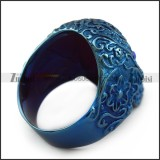 Blue Stainless Steel Flower Skull Ring with Blue Eyes r004314