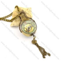 Small Steampunk 3D Glass Ball Transparent Mechanical Pocket Watch Chain pw000417