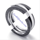 8mm Wide Black Flexible FOREVER LOVE Rings as Great Valentine Gift for Lover JR430008