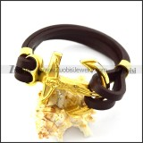 Brown Leather Bracelet with Golden Stainless Steel Jesus Anchor Buckle b006140