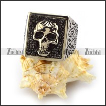 Carbon Black Rhinestones Skull Ring for Ladies r003924