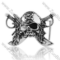 Punk Titanium Caribbean Pirates Skull Belt Buckle -JZ350020