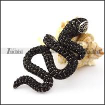 Black Rhinestones Snake Pendant in Steel p005731