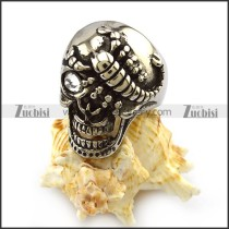 One Clear Rhinestone Eye Silver Stainless Steel Skull Ring with Scorpion r004320