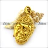 Shiny Gold Steel Buddha Pendant p004939