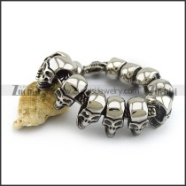 Large 25mm Wide Skull Head Bracelet b004490