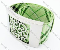 Stainless Steel Pale Green Leather Bracelet - JB400032