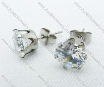 10mm Round Clear Zircon Stainless Steel Earring JE220004-10
