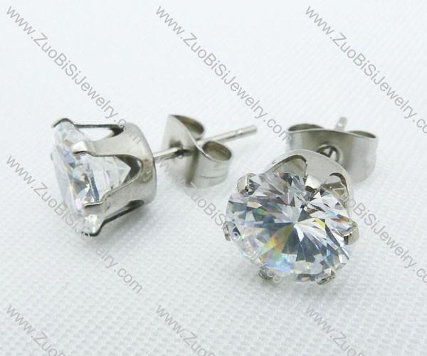 7mm Round Clear Zircon Stainless Steel Earring JE220004-7