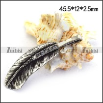 Stainless Steel Casting Feather Charm p003513