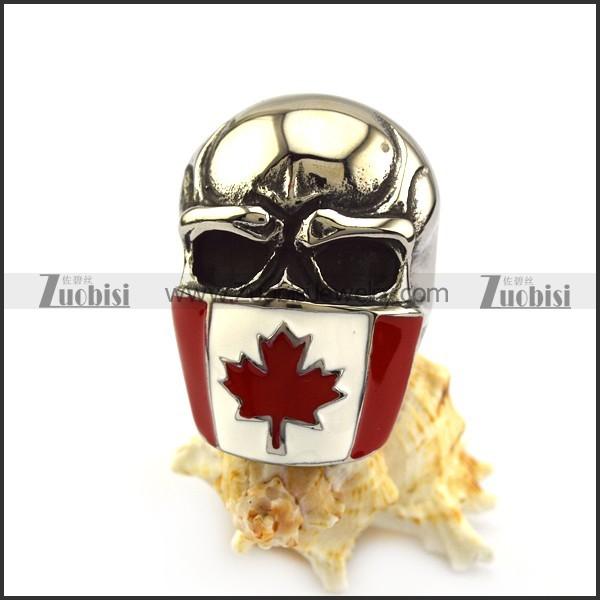 Canada Flag Skull Ring r004972