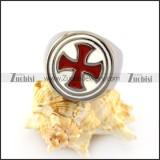 Red Cross White Epoxy Ring r004957
