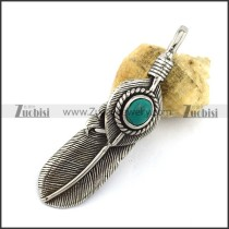 Retro Silver Stainless Steel Feather Pendant p002966