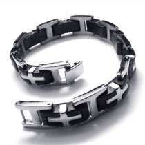 Stainless Steel Cross Rubber Link Bracelet with Watch Clasp for Mens JB140052