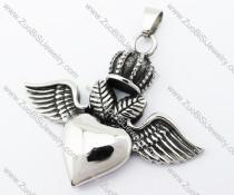 Stainless Steel Crown & Heart Pendant - JP370039