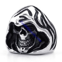 Stainless Steel Wizard Skull Ring JR330083