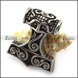 Antique Stainless Steel Thor Hammer Pendant p004898