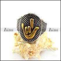 Golen Finger Sign of I LOVE YOU Ring r004964