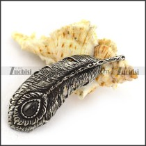 50MM Long Stainless Steel Feather Pendant p003817