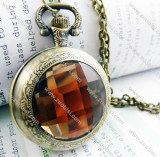 Light Amber Faceted Plastic Watch Face Pocket Watch -PW000188