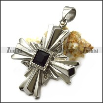 Black Faceted Stone Stainless Steel Cross Pendant p007040