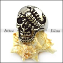 One Black Eye Silver Scorpion Stainless Steel Skull Ring r004319