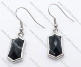 Black Stone Hexagon Stainless Steel earring - JE050138