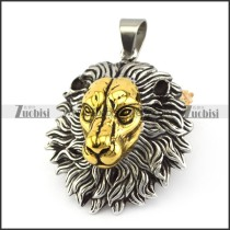 Big Silver and Gold Lion Pendant p005641
