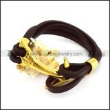 Gold Plating Steel Arrow Buckle Leather Bracelet b006142