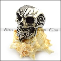 Dark Rhinestone Eyes Skull Ring with Beard r004326