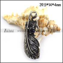 Retro Stainless Steel Feather Charm p003477