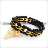 Black Outer Layers and Only One Yellow Layer Bicycle Chain Bracelet b005166